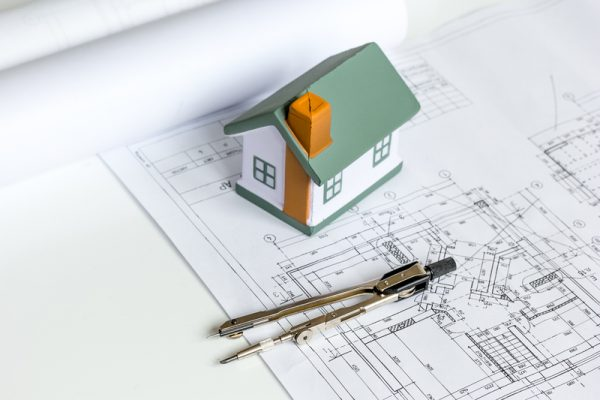 Architect drawings on table